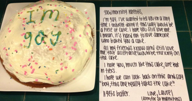Girl, 15, tells her parents she's gay by baking a cake
