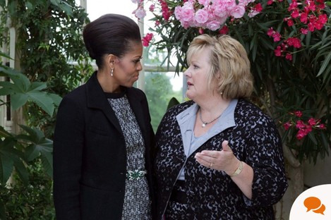 First Lady Michelle Obama with the Taoiseach's wife, Fionnuala Kenny.