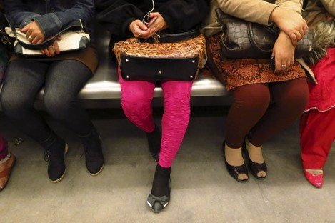 Indian women travel in a women-only metro train compartment in New Delhi, India.
