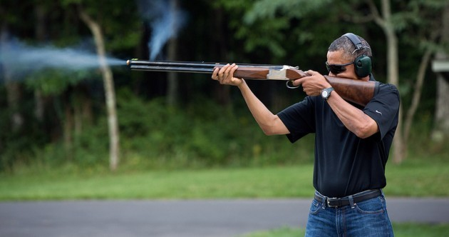 White House issues photo of Obama with gun