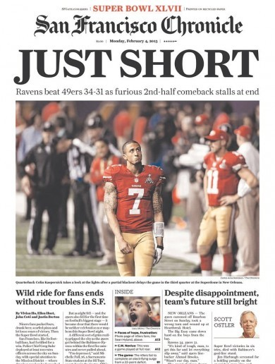 'Just short' -- Check out the front page of today's San Francisco Chronicle