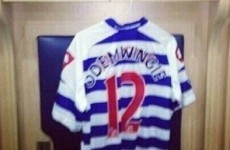 Peter Odemwingie's West Brom team-mates got him this QPR jersey after his road trip to Loftus Road