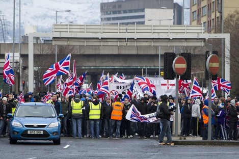 Loyalist protesters returning to East Belfast after a flag protest in Belfast City Centre.