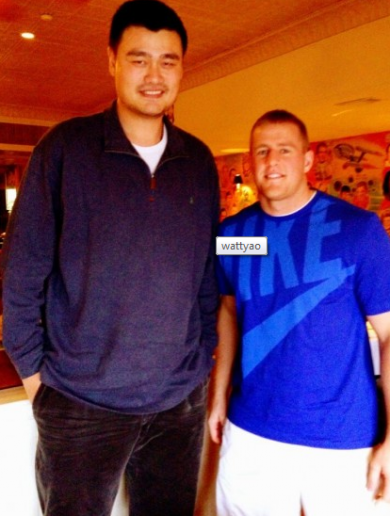 Yao Ming is one of the few athletes who can make JJ Watt look small