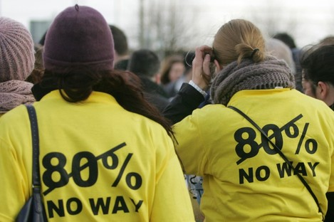 Student nurses at a protest against the scheme earlier this month.