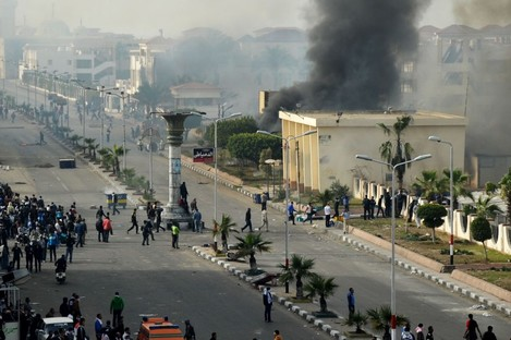 Egyptian protesters clash with police in violence last month.
