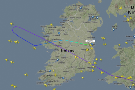 This graphic from FlightRadar24.com shows the path of flight US799 before its landing.