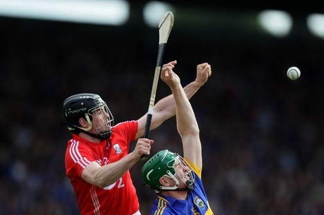 Cork's Shane O'Neill and Tipperary's Noel McGrath.