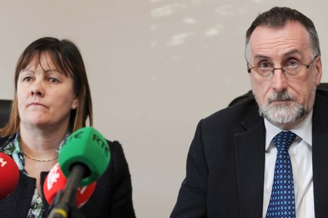 Sheila Nunan from INTO and Shay Cody from Impact at a press conference earlier this weeek