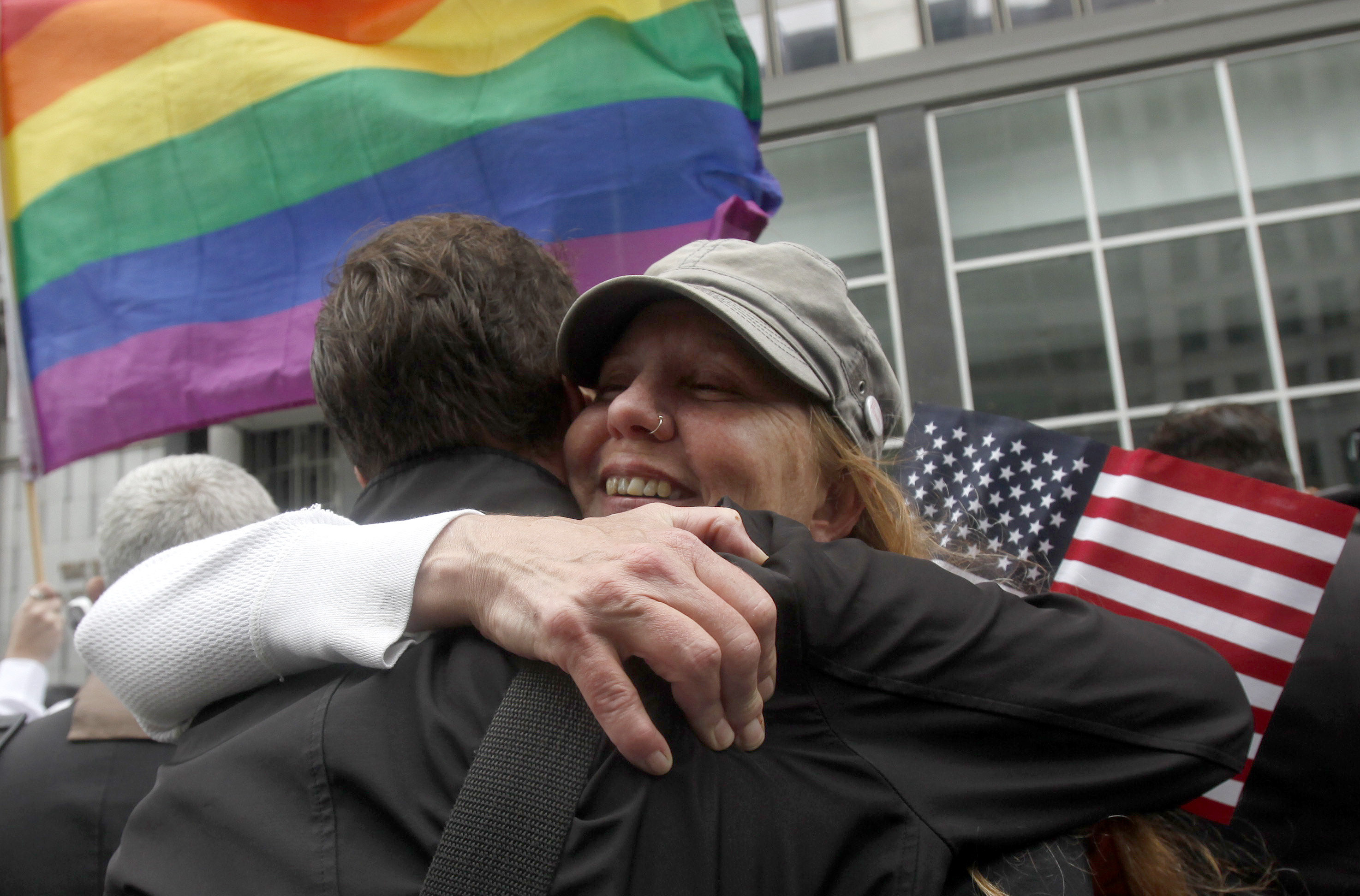 Supporters of gay marriage celebrate after a federal judge ruled California's ban on same-sex partnerships unconstitutional.