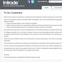 Dublin based betting website Intrade ceases trading