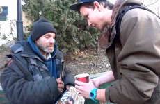 VIDEO: Young magician makes homeless man very happy