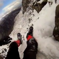 This crazy footage shows a climber lose his grip and slide 100ft down a mountain