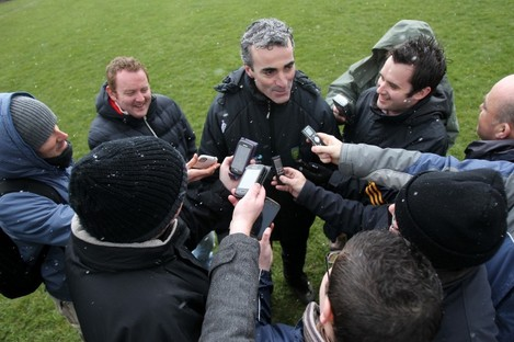 Donegal manager Jim McGuinness talks to the press after the match with Kerry last week.