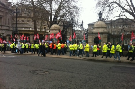 SIPTU members holding the protest outside the Dáil this lunchtime