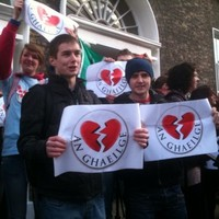 """Irish language students protest at being """"dumped"""" by Fine Gael"""
