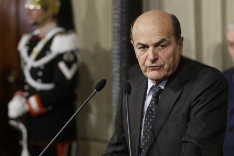 Pier Luigi Bersani speaking to reporters in Rome today.