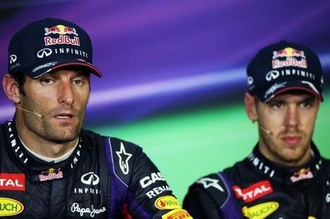 The post race FIA Press Conference (L to R): Mark Webber (AUS) Red Bull Racing, second; Sebastian Vettel (GER) Red Bull Racing, race winner.