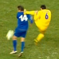 Ukrainian player's flying kung-fu head kick is as clear a red card as you'll see