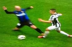 Esteban Cambiasso chops down little Sebastian Giovinco with a horrific tackle
