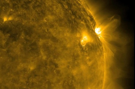 Solar flares in 2011, captured by a Nasa solar observatory. The new European centre will be monitoring activity for the European Space Agency.
