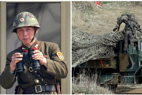 Photographs show a North Korean soldier (left) watching South Korea at a border town, and South Korean soldiers (right) placing a camouflage net over their military vehicle