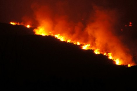 Fire on the Little Sugar Loaf two days ago