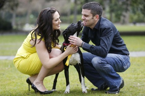 TV presenter Gráinne Seoige and former boxing world champion Bernard Dunne at the launch of the Pedigree Adoption Drive.