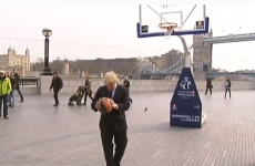 Boris Johnson pulls off basketball trick shot... wearing a suit