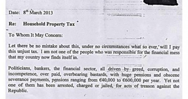 'You will not beat us into submission' - man (73) pens anti-property tax letter