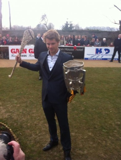 Romeo from Home and Away gets his hands on the Liam MacCarthy Cup in Kilkenny
