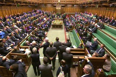 While Tory benches (left) were full for today's debate, the Labour side (right) was more sparsely populated as some MPs chose to stay away.