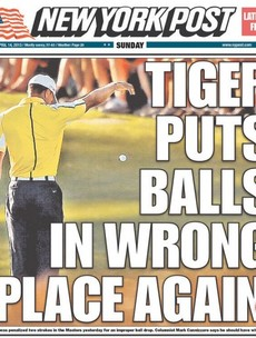 New York Post headline has a laugh at Tiger's expense