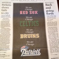 The Chicago Tribune produced this brilliant sports page to show its solidarity with Boston