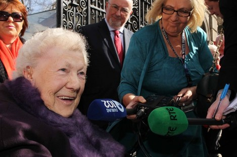 Ellen O Brien is pictured outside Leinster House in Dublin this evening.