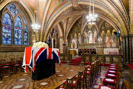 Margaret Thatcher's coffin rests in the Crypt Chapel of St Mary Undercroft beneath the Houses of Parliament in central London overnight.