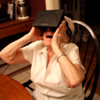 Here is a 90-year-old woman in a virtual reality helmet