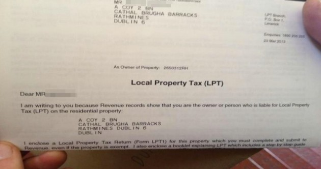 PIC: Soldier receives property tax bill for his entire barracks