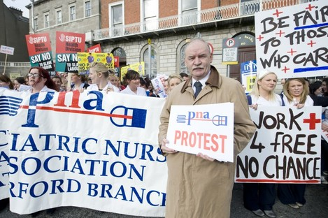 Des Kavanagh at a previous PNA protest in Dublin