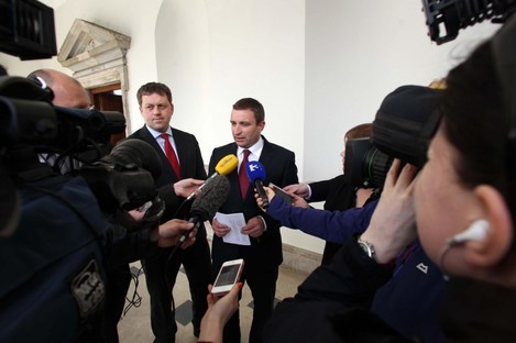 Fianna Fáil's Niall Collins speaking to the media today