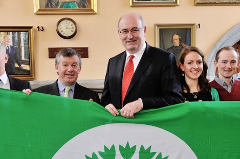 UCC President Michael Murphy and Minister for the Environment, Community and Local Government, Phil Hogan, TD pictured in University College Cork (UCC) at a renewal ceremony marking the world's first Green Flag campus.