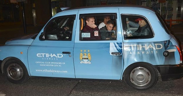 Taxi for City... Man United players ride around town in sky blue cab