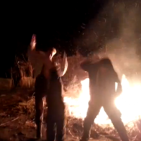 Man tries Harlem Shake, falls into bonfire