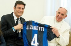 An audience with Zanetti: Pope Francis gets to meet his (and our) idol