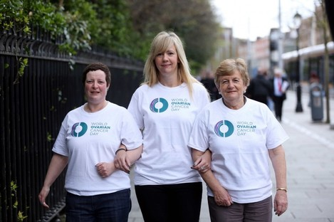 Pictured at the launch of the Ovarian Cancer Global Awareness Campaign today were Clare Keating, Blanchardstown, Dublin with Rachel Ireland, Cork City and Juliette Casey, Cork.