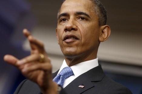 Barack Obama speaking from the White House earlier