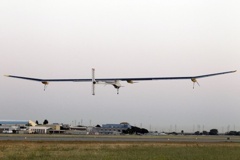 The Solar Impulse plane takes off on a multi-city trip across the United States from Moffett Field NASA Ames Research Center in Mountain View, California today