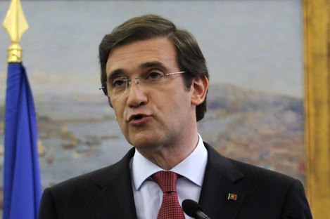 Portugal's Prime Minister Pedro Passos Coelho delivering the plans.