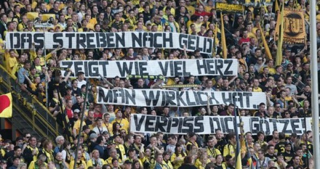 Borussia Dortmund's fans spelled it out for Mario Götze this evening