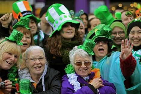 Revellers enjoy the St Patrick's Day parade Dublin city centre this year.